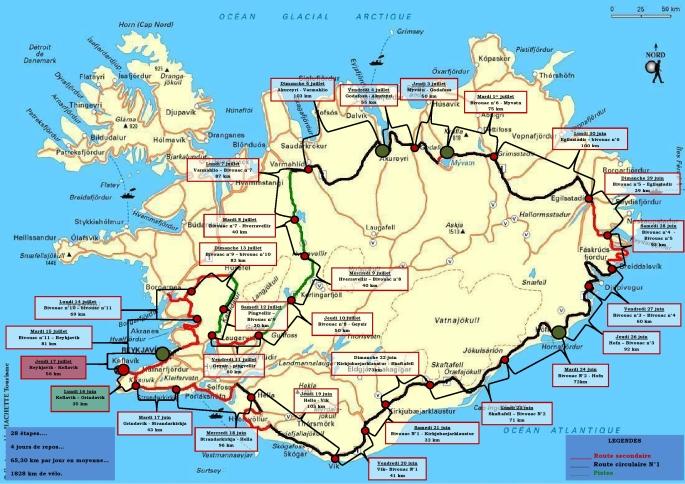le parcours en détail du tour d'islande à vélo