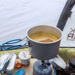 Islande à vélo 2014, dîner sous la tente