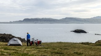 Islande à vélo 2014, bivouac au pied d'un fjord de l'Est de l'Islande