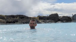Islande à vélo 2014, baignade à Myvatn
