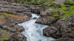 Islande à vélo 2014, chute d'eau de Barnafoss