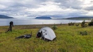 Islande à vélo 2014, bivouac en bord du Hvallfjordur
