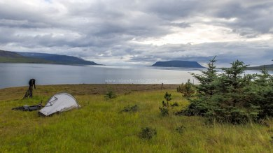 Islande à vélo 2014, bivouac au pied du Hvallfjordur