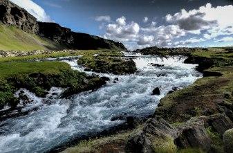 Islande à vélo 2014, cascade en bord de route 1 dans le sud