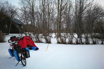 Campement de Varmahlid, en Islande à vélo en hiver