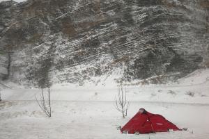 Camping de Vik, en Islande à vélo en hiver