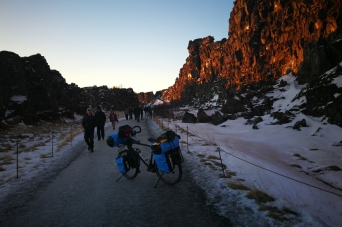 Pingvellir, en islande à vélo en hiver