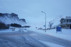 Ville de Vik, en Islande à vélo en hiver