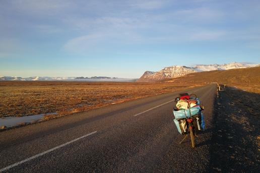 Islande à vélo sur la route Sud en hiver