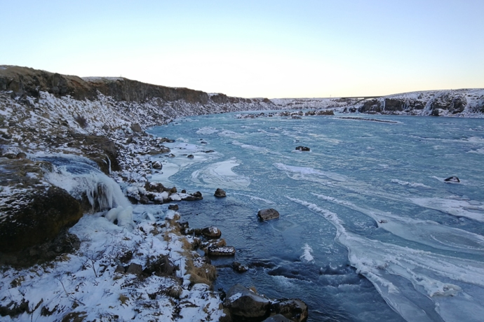 Chutes d'eau d'Urridados, en Islande à vélo en hiver