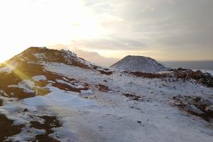 Volcan des îles Vestmann, en Islande à vélo en hiver