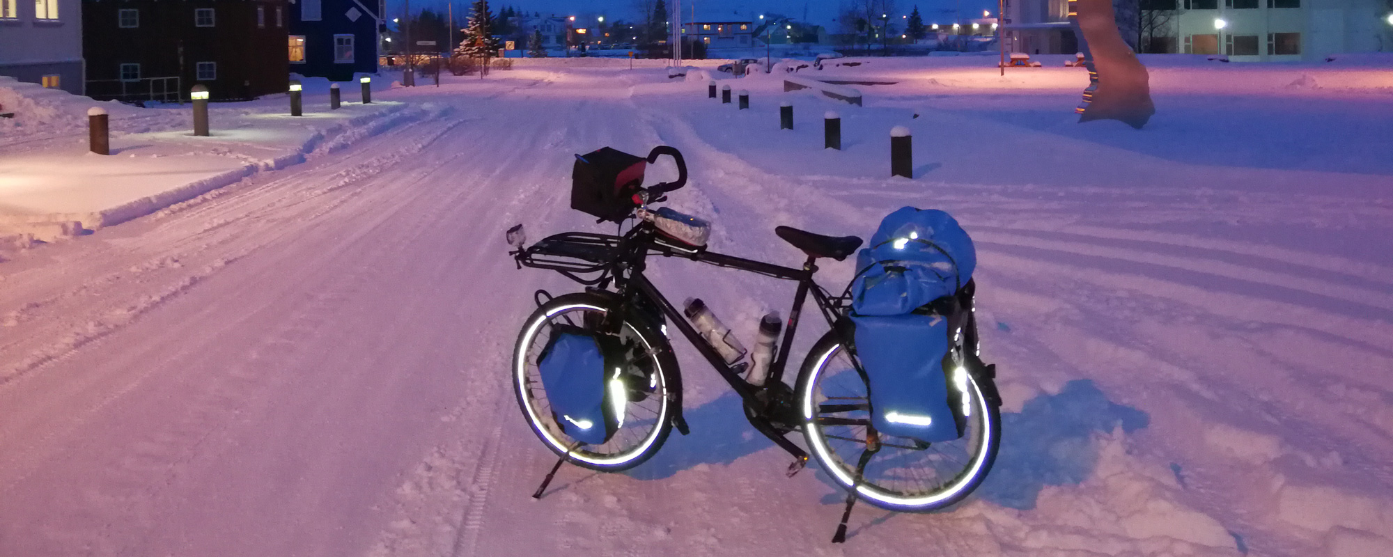 En Islande à vélo en hiver 2017/2018, dans le centre de Seydisfjordur