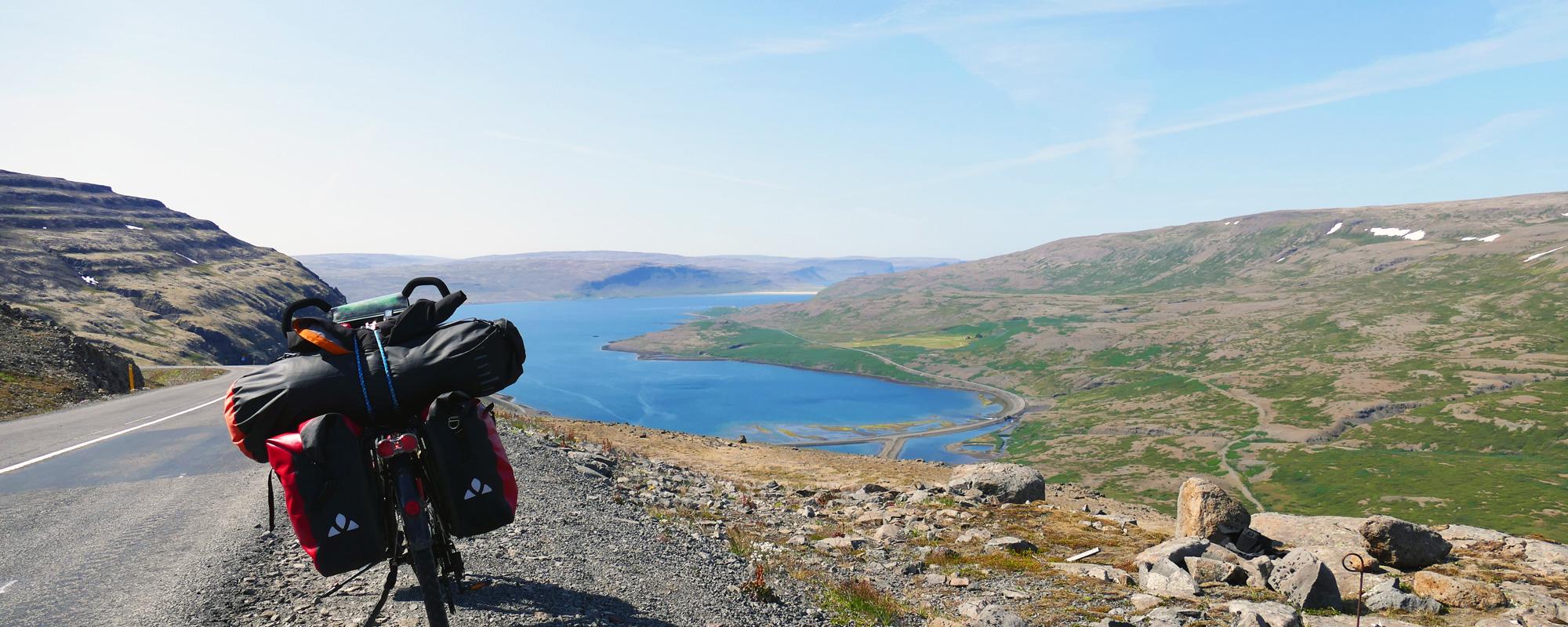 en Islande à vélo en 2015, dans les westfjords